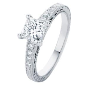 Baroque White Gold Engagement Ring