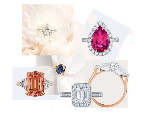 Engagement Ring Design Guide- Collage of custom made engagement rings