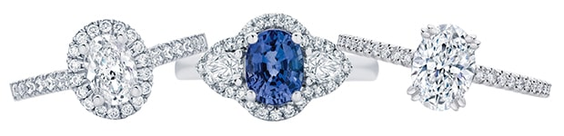 Engagement ring designs which feature diamond accents on the shoulders also knows as side stones