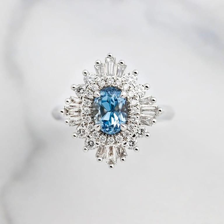Aquamarine and diamond unique halo engagement ring