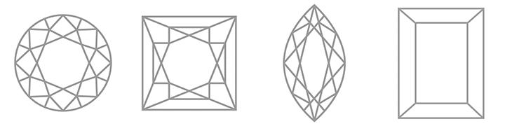 Diamond shapes including, round brilliant, princess, marquise and baguette