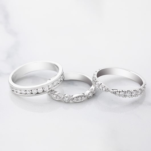 3 unique Platinum and diamond wedding rings made by Australian Jewellers