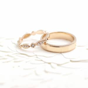 Rose Gold wedding rings with matching milgrain detail