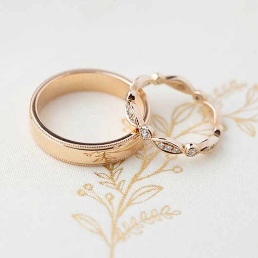 Mens and Womens Rose Gold and diamond wedding rings