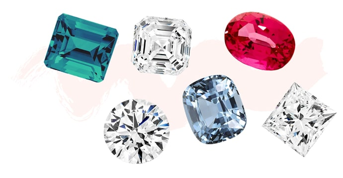 Collection of white diamonds and coloured precious gemstones