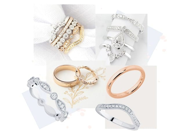 Wedding ring design Guide- collage of custom made wedding ring designs.