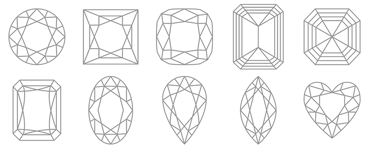 A row of popular Diamond shapes available at Larsen Jewellery