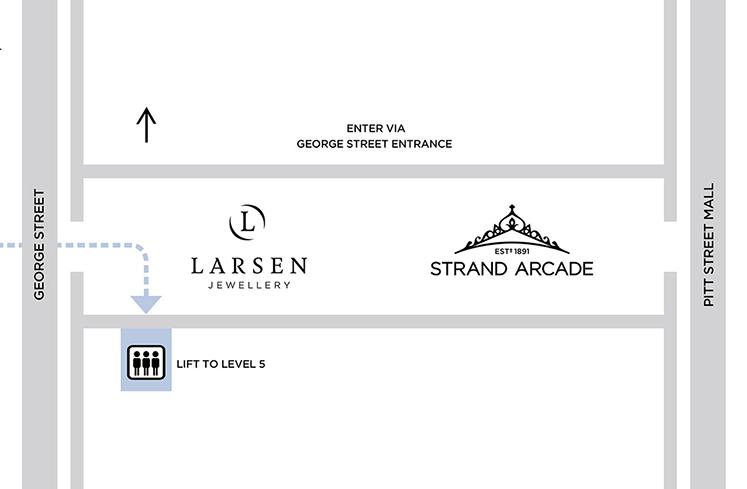 larsen jewellery map find us sydney location