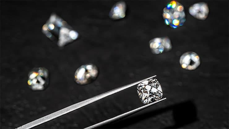 Diamonds being viewed and compared in the Jewellery studio