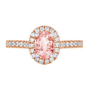 Peach Sapphire Rosetta Oval Rose Gold