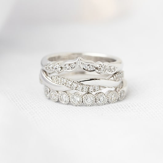 3 unique white gold women's wedding bands