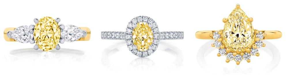 three yellow diamond rings