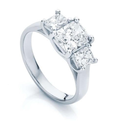 Radiant Three Stone Engagement Ring Platinum | Allure