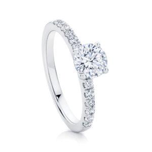 Round Side Stones Engagement Ring Platinum   Amore