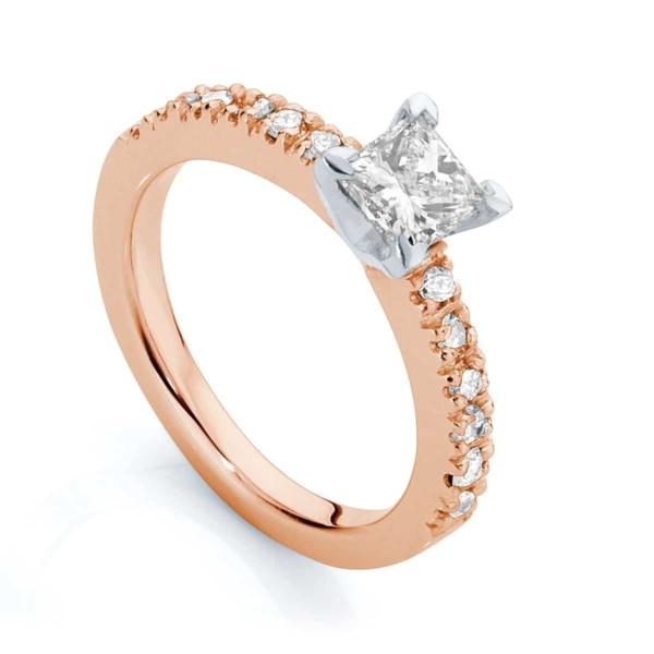 Princess Side Stones Engagement Ring Rose Gold   Amore (Princess)