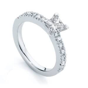 Princess Side Stones Engagement Ring White Gold | Amore (Princess)