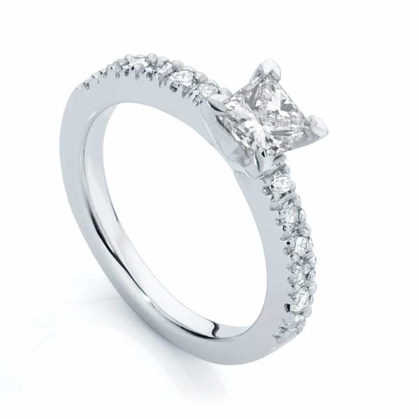 Princess Side Stones Engagement Ring White Gold | Amore (Princess)