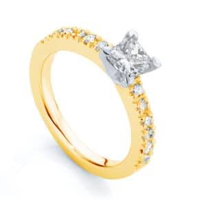 Princess Side Stones Engagement Ring Yellow Gold | Amore (Princess)