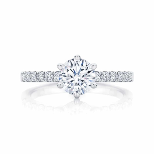 Round Side Stones Engagement Ring White Gold | Amore (six claw)