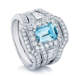 Emerald Halo Engagement Ring Platinum   Andromeda