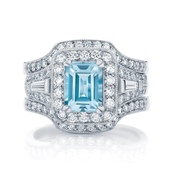 Emerald Halo Engagement Ring Platinum | Andromeda