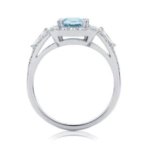 Emerald Halo Engagement Ring White Gold | Andromeda