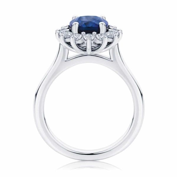 Oval Halo Engagement Ring Platinum | Aquarius