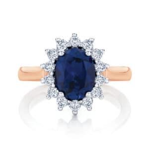 Oval Halo Engagement Ring Rose Gold | Aquarius