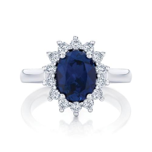 Oval Halo Engagement Ring White Gold   Aquarius