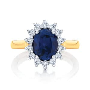 Oval Halo Engagement Ring Yellow Gold | Aquarius
