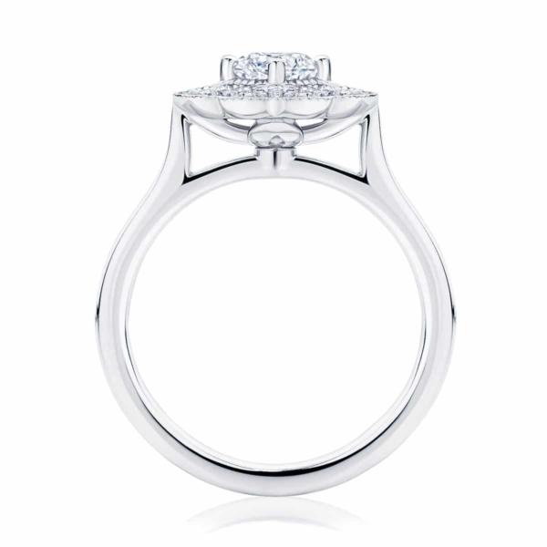Round Halo Engagement Ring Platinum | Arabesque