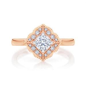Round Halo Engagement Ring Rose Gold | Arabesque