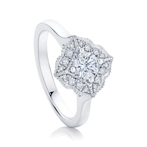 Round Halo Engagement Ring White Gold | Arabesque