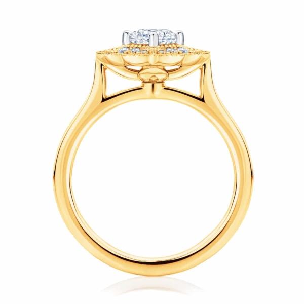 Round Halo Engagement Ring Yellow Gold | Arabesque