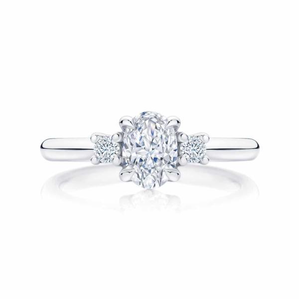 Oval Three Stone Engagement Ring Platinum | Arcadia