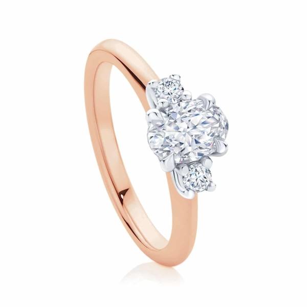 Oval Three Stone Engagement Ring Rose Gold | Arcadia