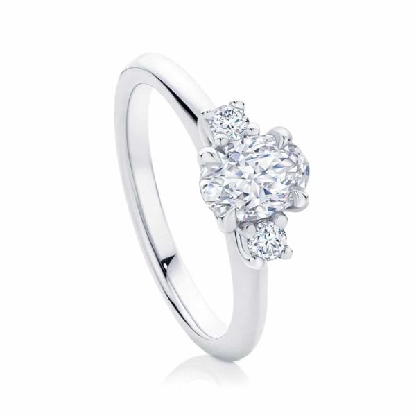 Oval Three Stone Engagement Ring White Gold | Arcadia