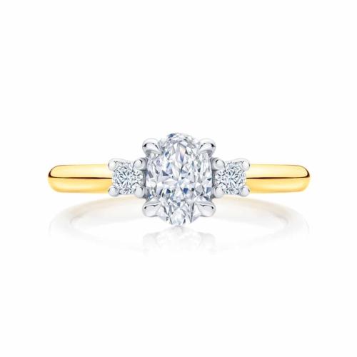 Oval Three Stone Engagement Ring Yellow Gold | Arcadia
