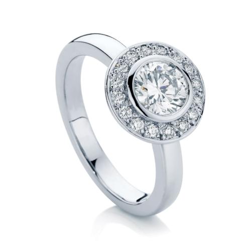 Round Halo Engagement Ring White Gold | Aria