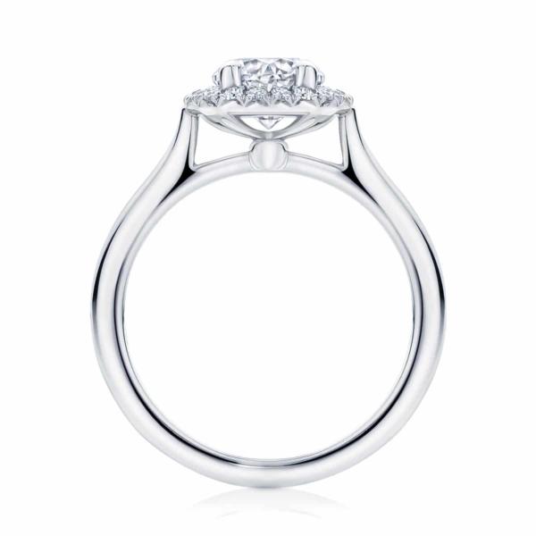 Round Halo Engagement Ring Platinum | Ariel (Plain Band)