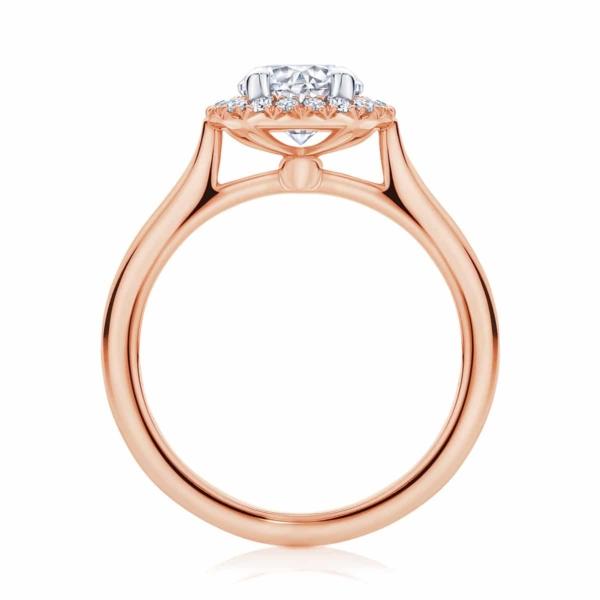 Round Halo Engagement Ring Rose Gold | Ariel (Plain Band)