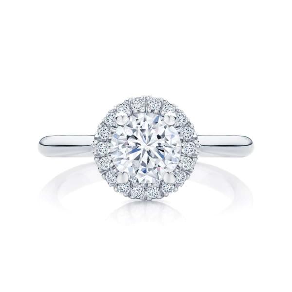 Round Halo Engagement Ring White Gold | Ariel (Plain Band)