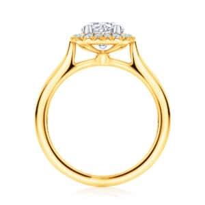 Round Halo Engagement Ring Yellow Gold | Ariel (Plain Band)