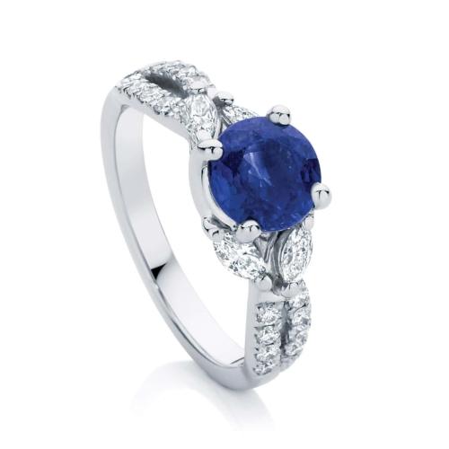 Round Side Stones Engagement Ring Platinum   Athena