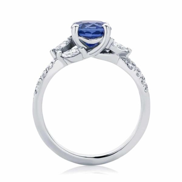 Round Side Stones Engagement Ring White Gold | Athena