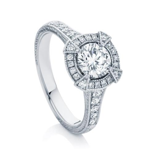 Round Engraved Engagement Ring Platinum   Atlantis