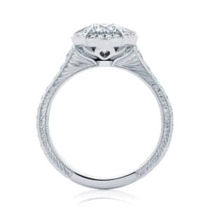 Round Engraved Engagement Ring White Gold | Atlantis