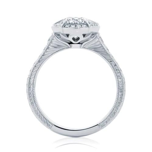 Round Engraved Engagement Ring White Gold   Atlantis