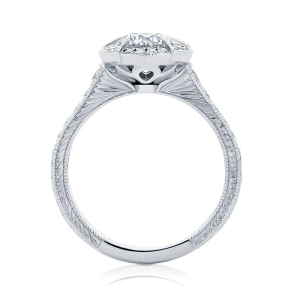 Round Engraved Engagement Ring White Gold | Atlantis