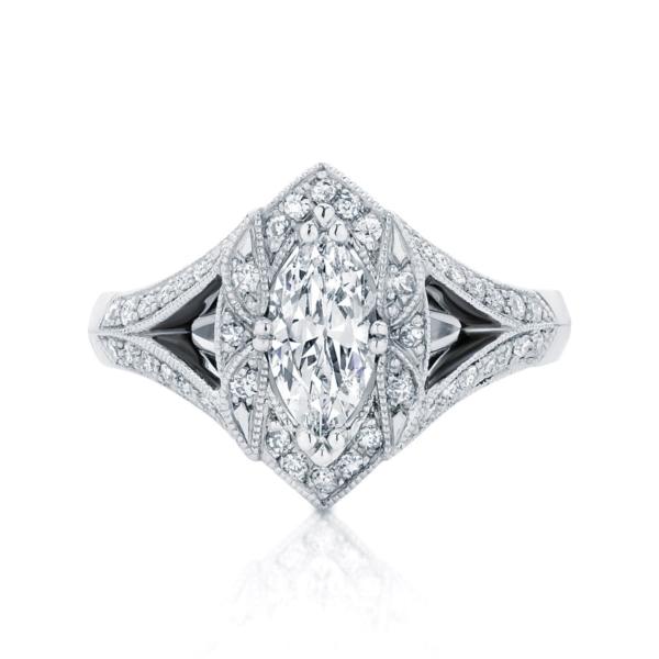 Marquise Halo Engagement Ring White Gold | Aura